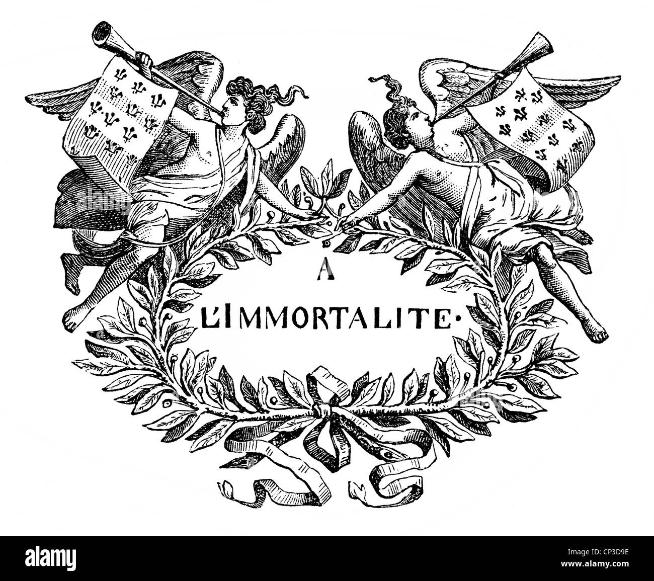 À l'immortalité or To Immortality, the motto of the French academic society Académie française, - Stock Image