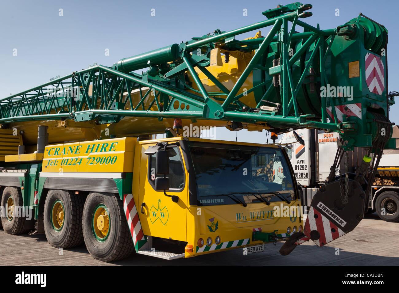 Mobile cranes for cargo handling at Montrose Port Scotland