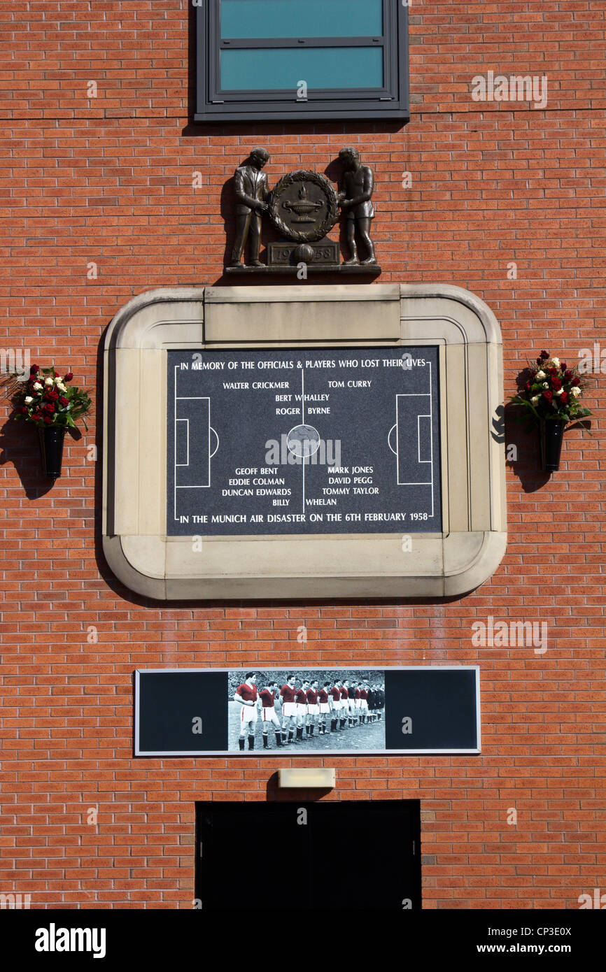 The 1958 Munich air disaster memorials manchester united stadium old trafford england - Stock Image