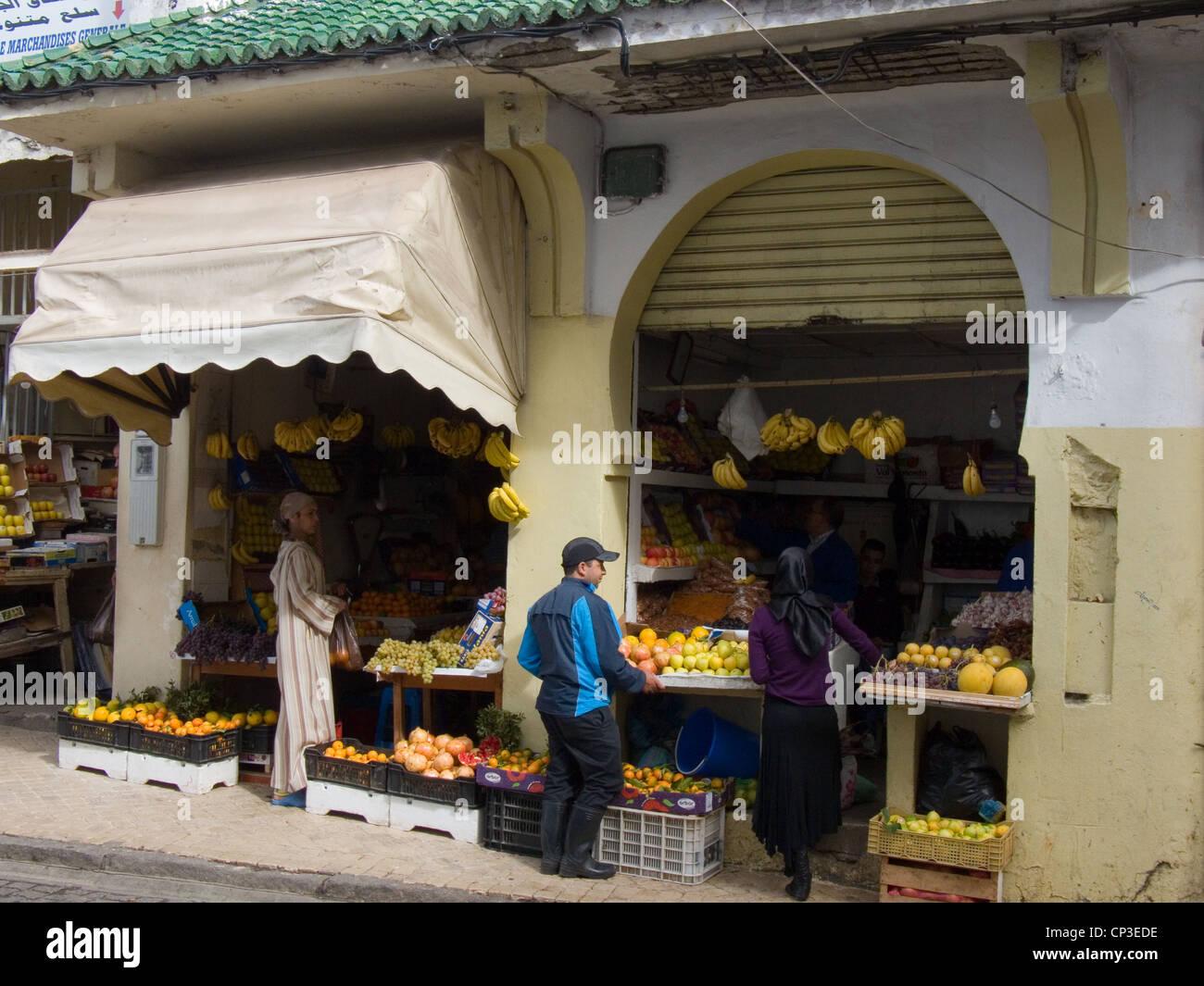 Fruit shop in Tangier - Stock Image