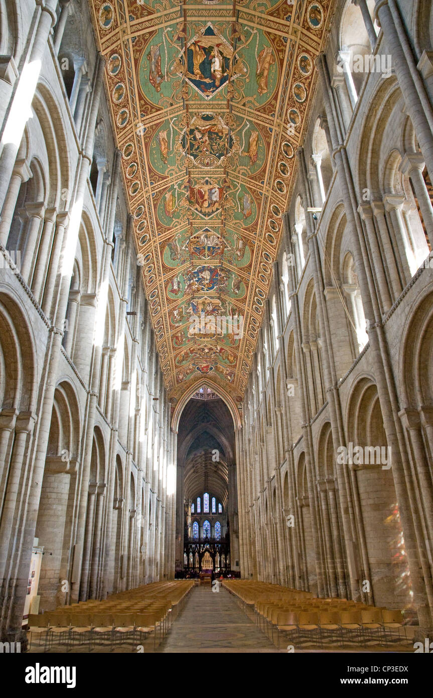 Looking east from west door down nave of Ely Cathedral showing Victoria painted wooden panelling of roof and guilded - Stock Image