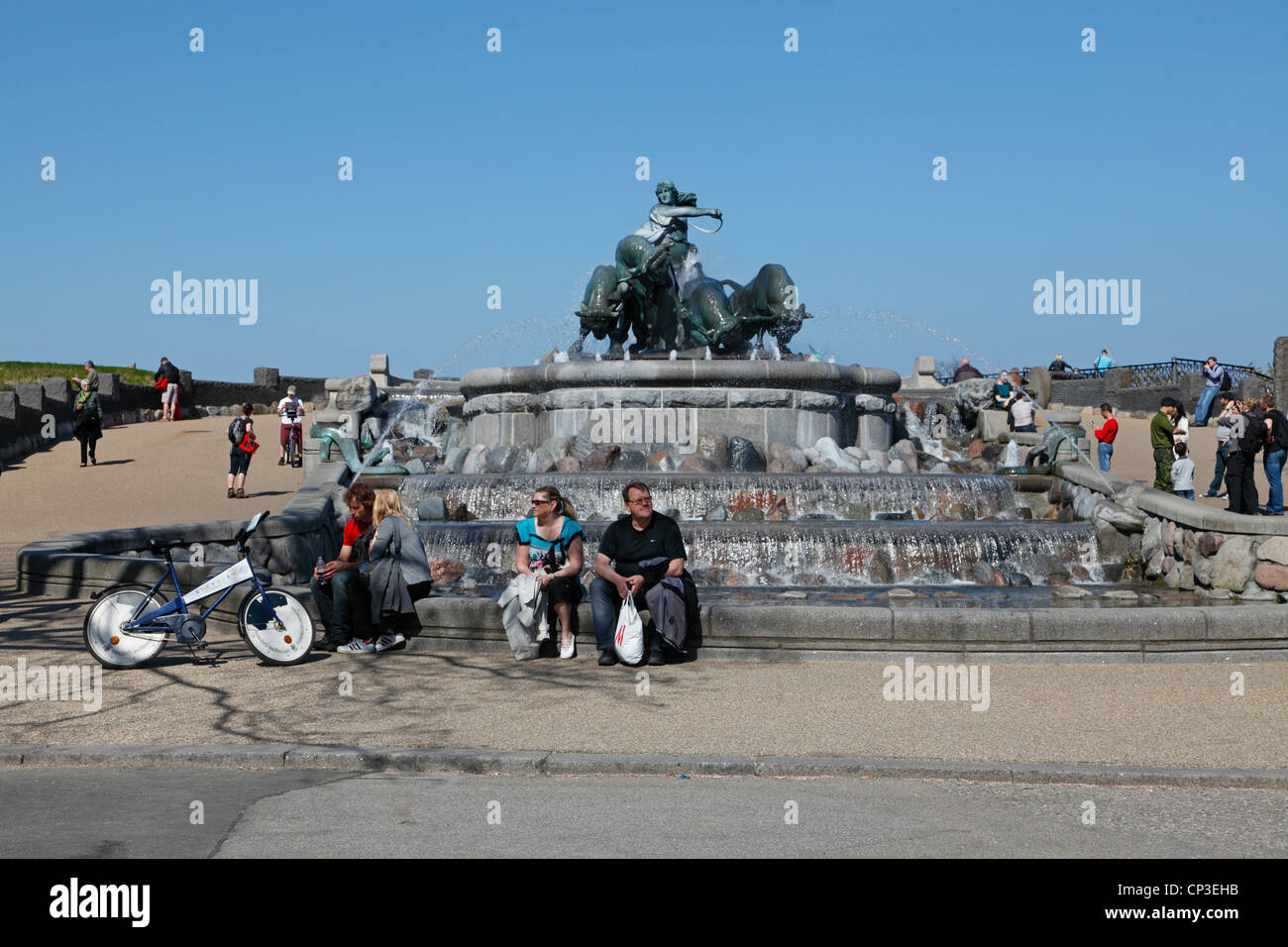 The Gefion Fountain (Gefionspringvandet) on the harbour front at the Langeliniepark next to the citadel Kastellet - Stock Image