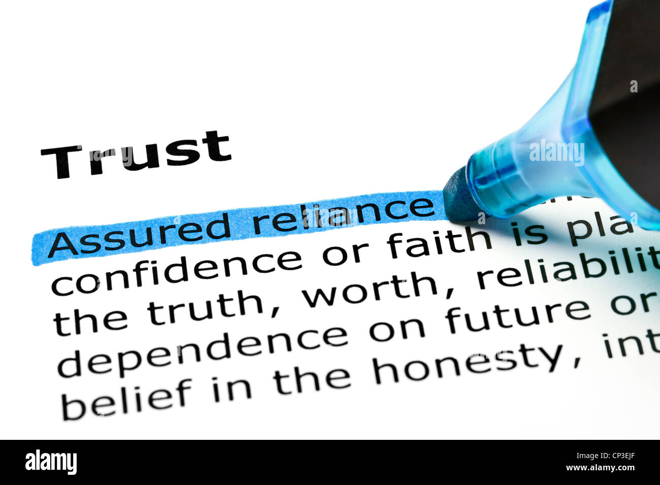 Assured reliance highlighted in blue, under the heading Trust - Stock Image