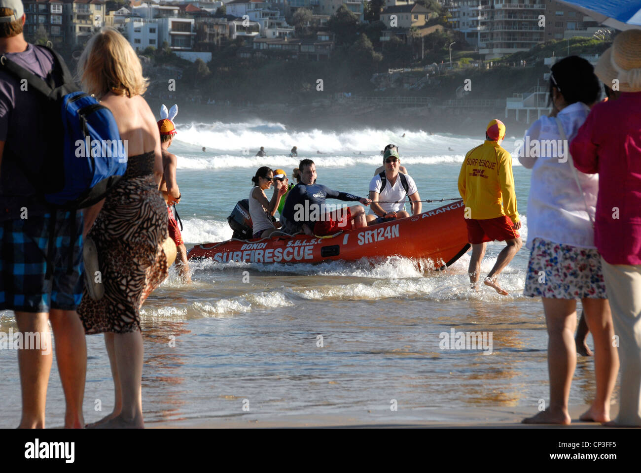 b9ba4687d94 Lifeguards with rescue boat on Bondi Beach Sydney s premier surfing and  leisure beach on a busy summer day. Sydney