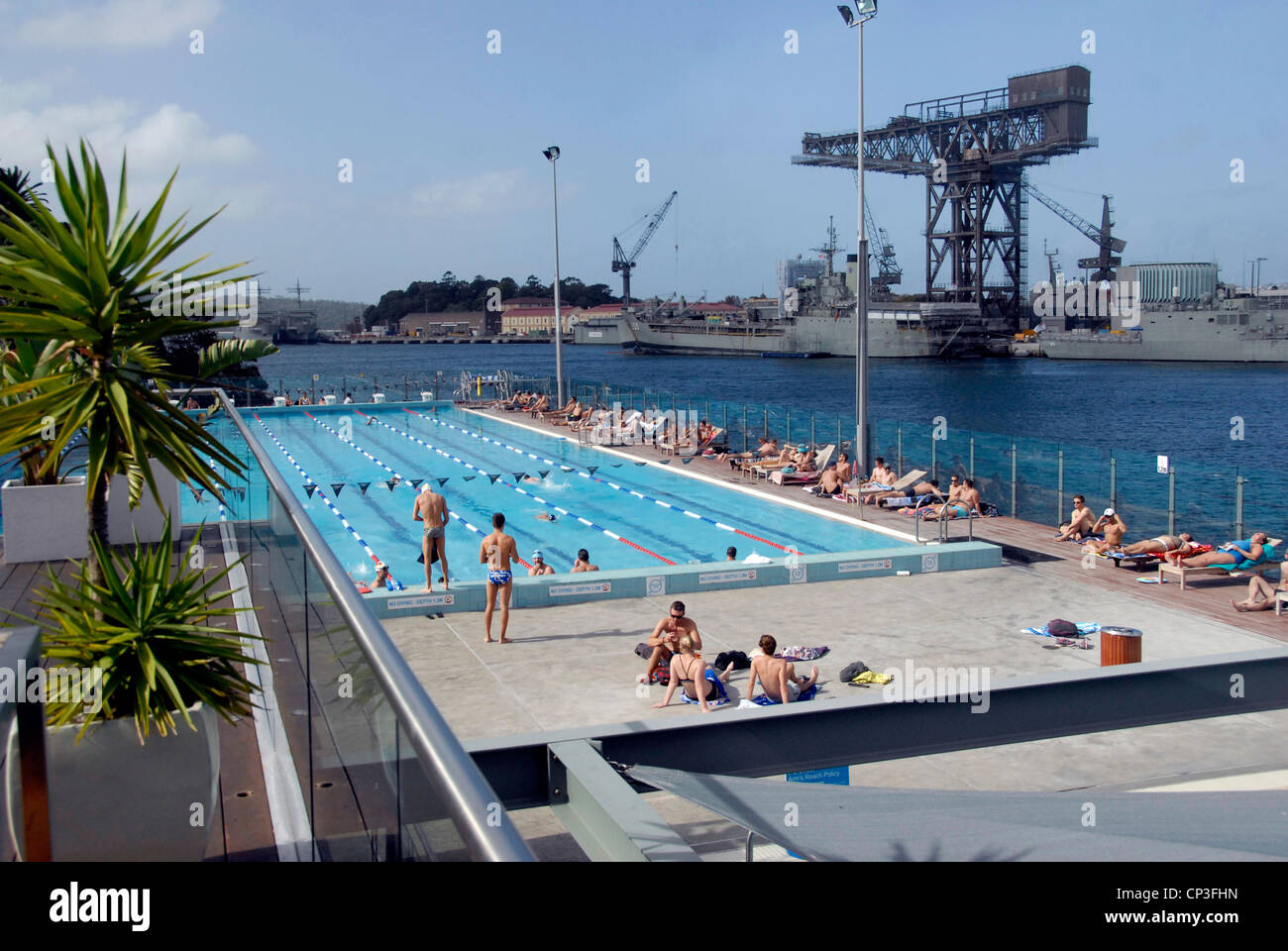 View of Boy Charlton open air Olympic size swimming pool