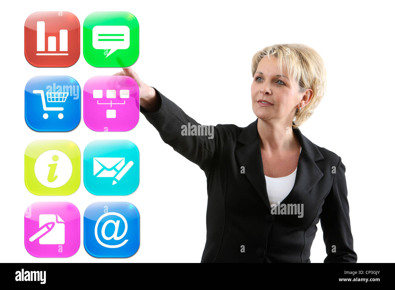 Symbolic image, Icon, virtual work, operate. Icons virtual control computer, communications, Internet, software, - Stock Image