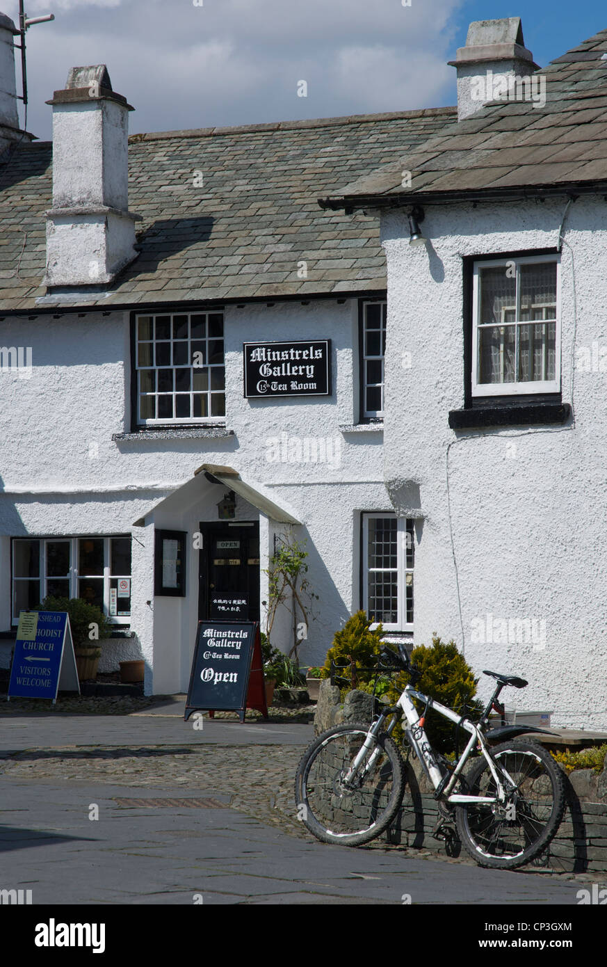The Minstrel's Galley tea room in the village of Hawkshead, Lake District National Park, Cumbria, England UK - Stock Image