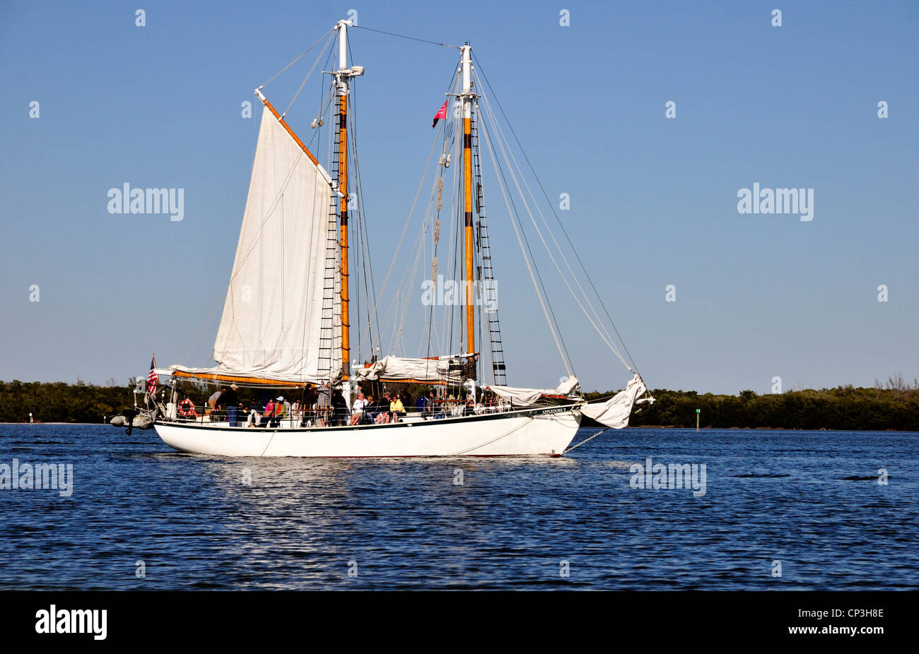 Schooner Appledore V, Fort Myers Beach, takes visitors for a relaxing sightseeing sail - Stock Image