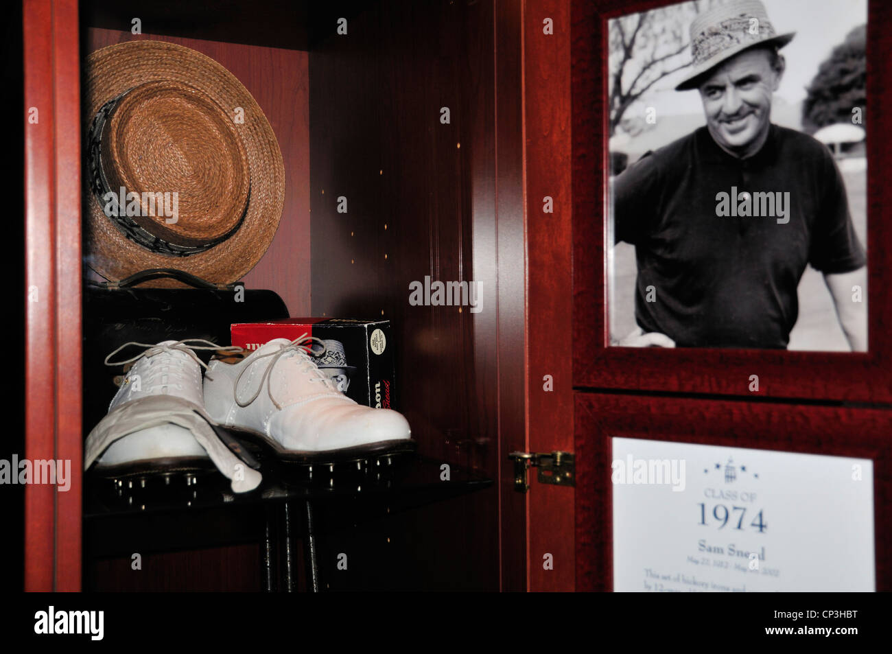 Locker at the World Golf Hall of Fame containing mementos of Sam Snead's career - Stock Image