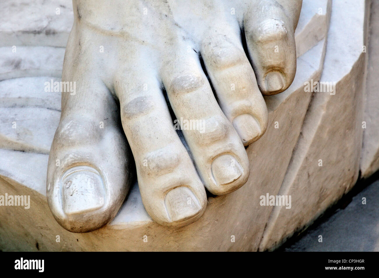 Toes of left foot of David, a replica of the Michelangelo statue in St. Augustine, Florida. - Stock Image