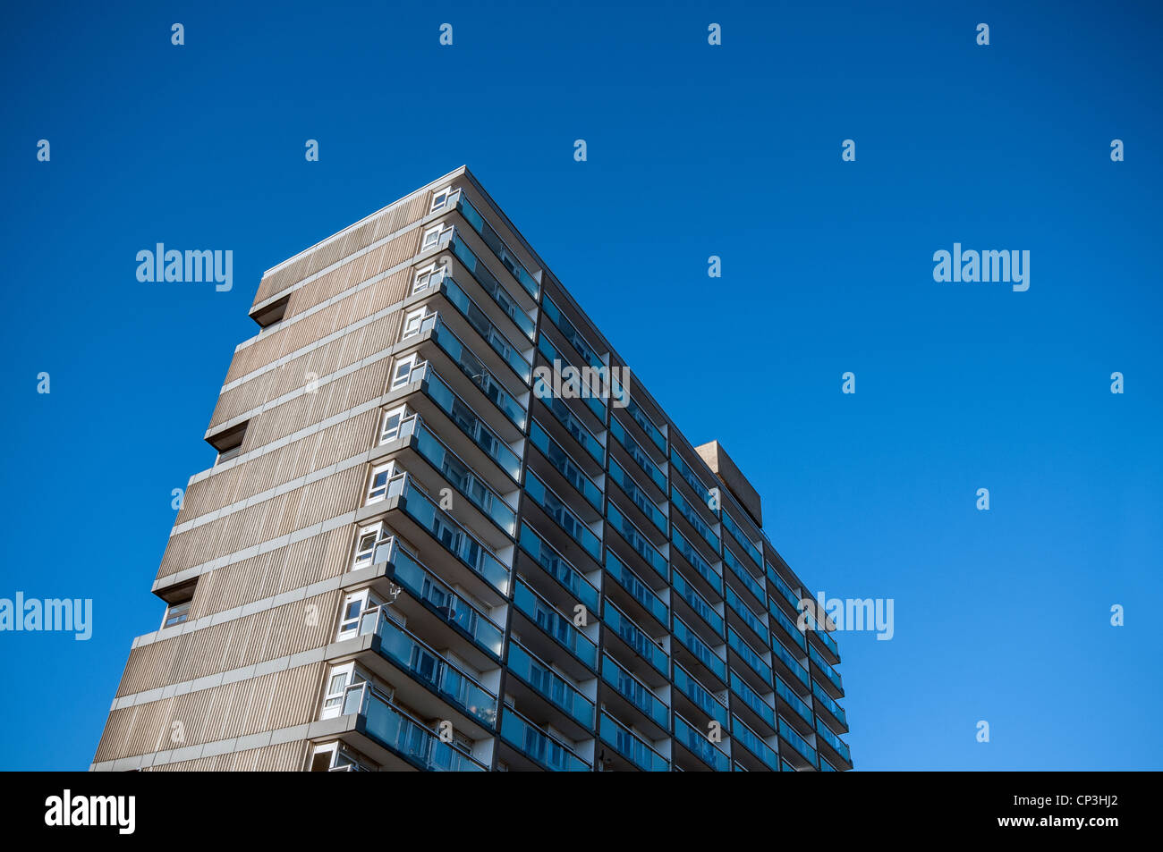 Castle House a Brutalist tower block in the centre of Southampton, Hampshire, UK - Stock Image