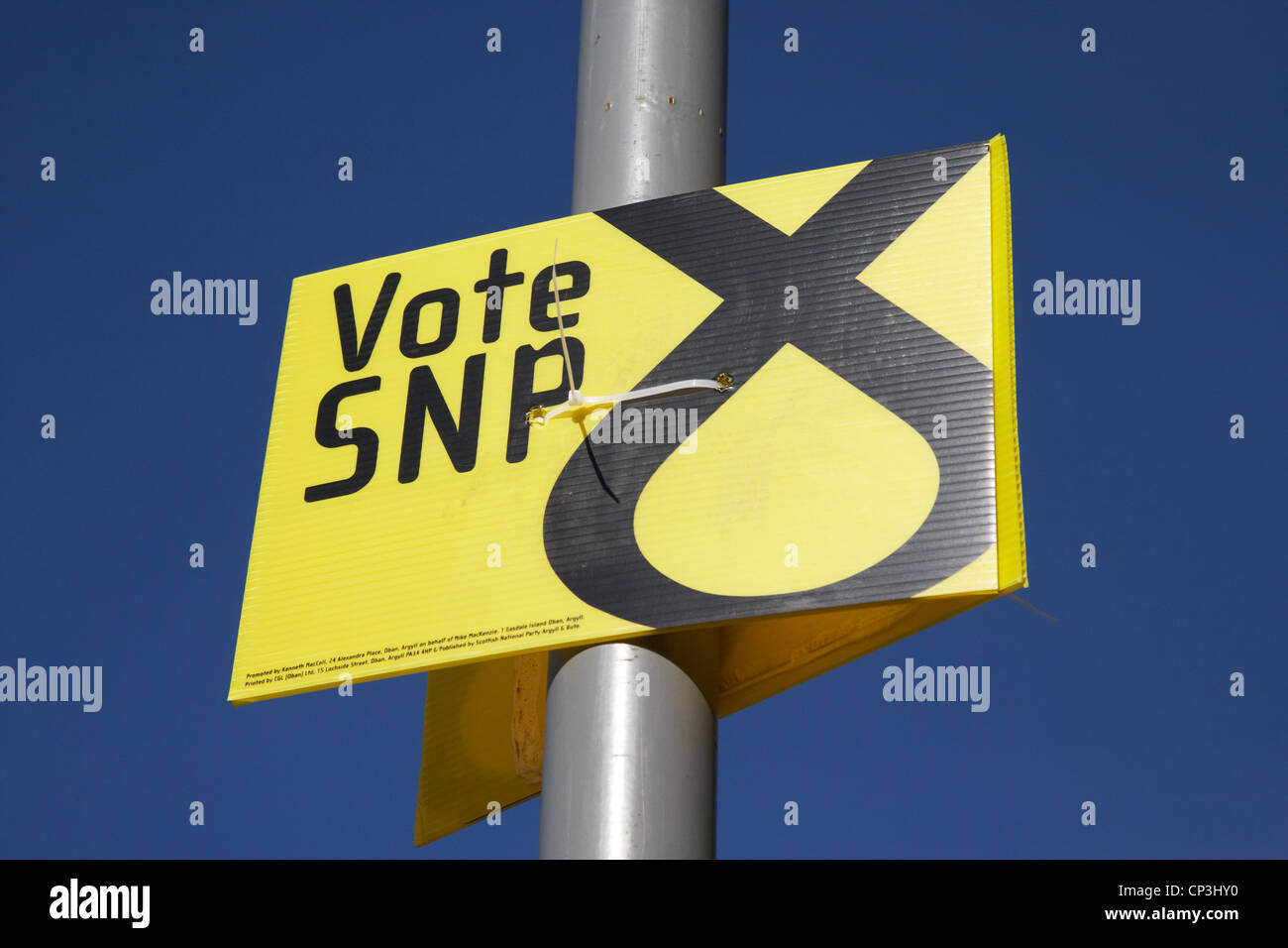 scottish national party snp election poster in scotland - Stock Image
