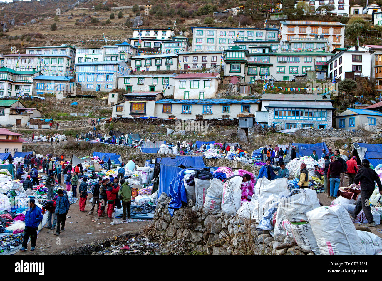 Tibetan market at Namche Bazaar, on the trail to Everest Base Camp - Stock Image