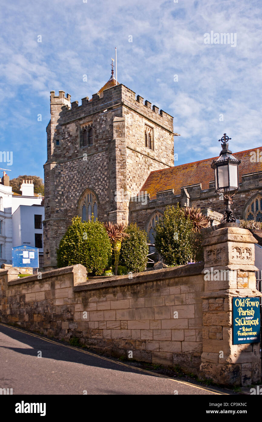 St Clement's parish church in Hastings Old Town - Stock Image