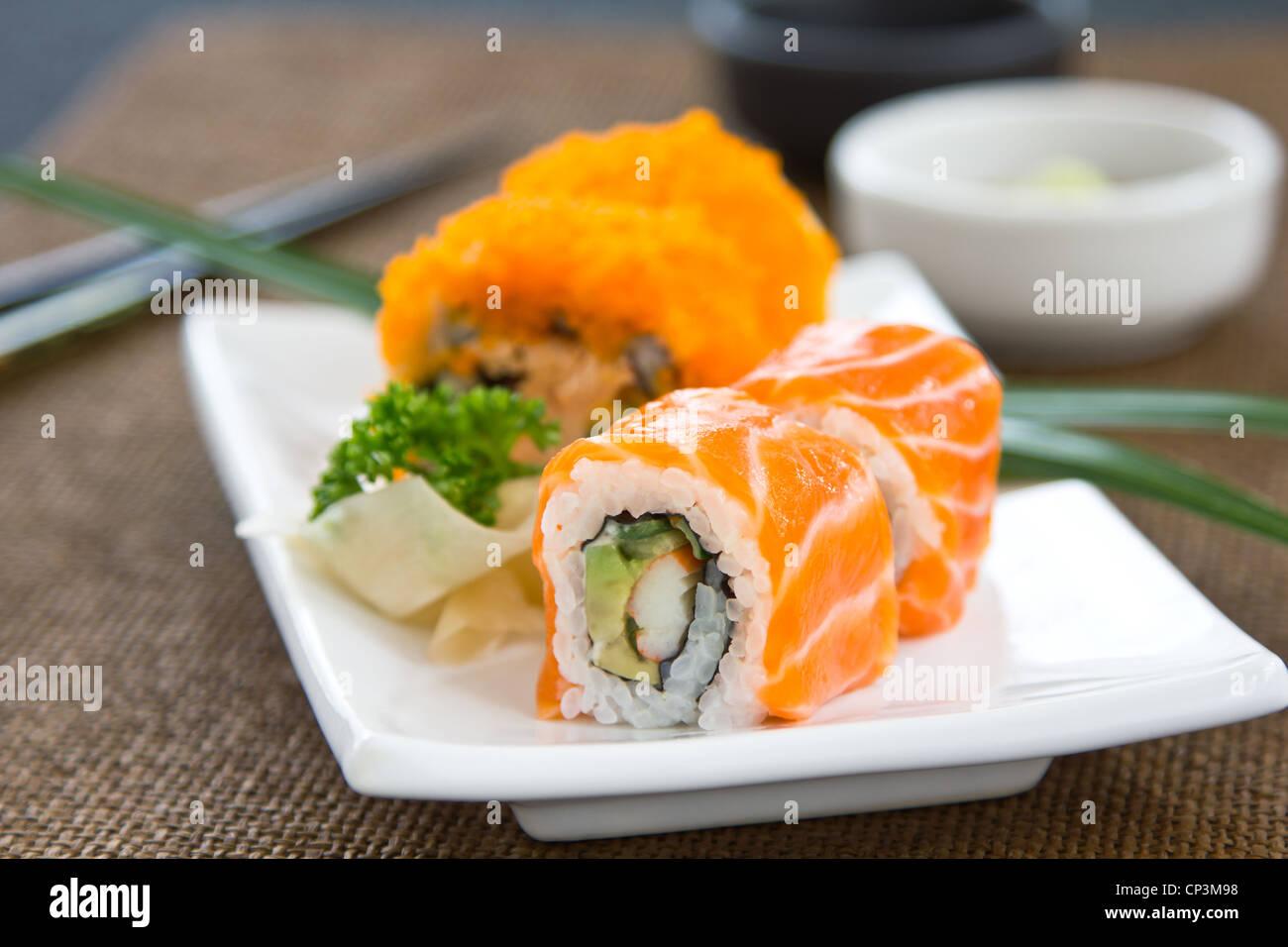 Sushi ,Salmon rolled - Stock Image
