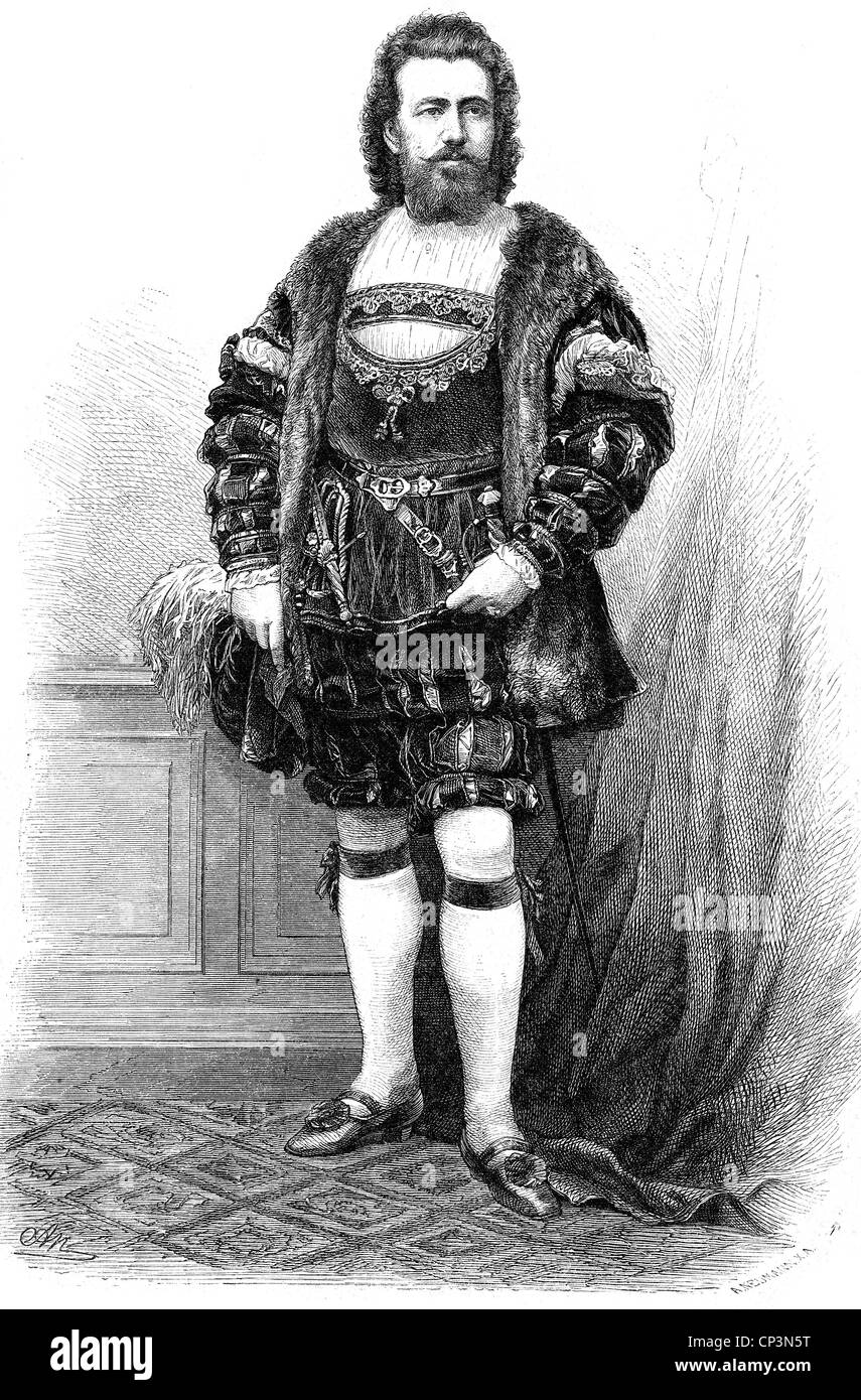 "Nachbaur, Franz Innozenz, 25.3.1830 - 21.3.1903, German opera singer, full length, as Walther von Stolzing in ""Die Stock Photo"