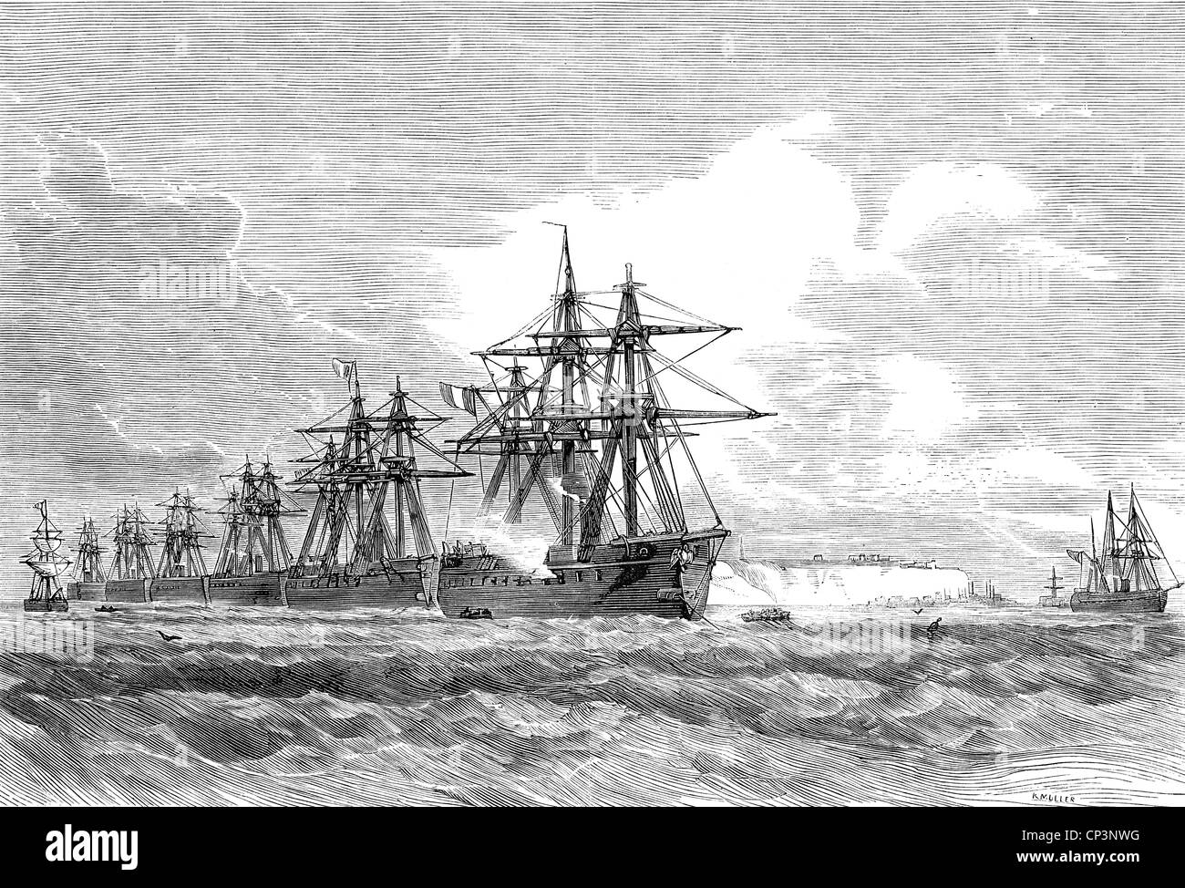 events, Franco-Prussian War 1870 - 1871, naval warfare, French fleet before Heligoland, wood engraving, 1870, French - Stock Image