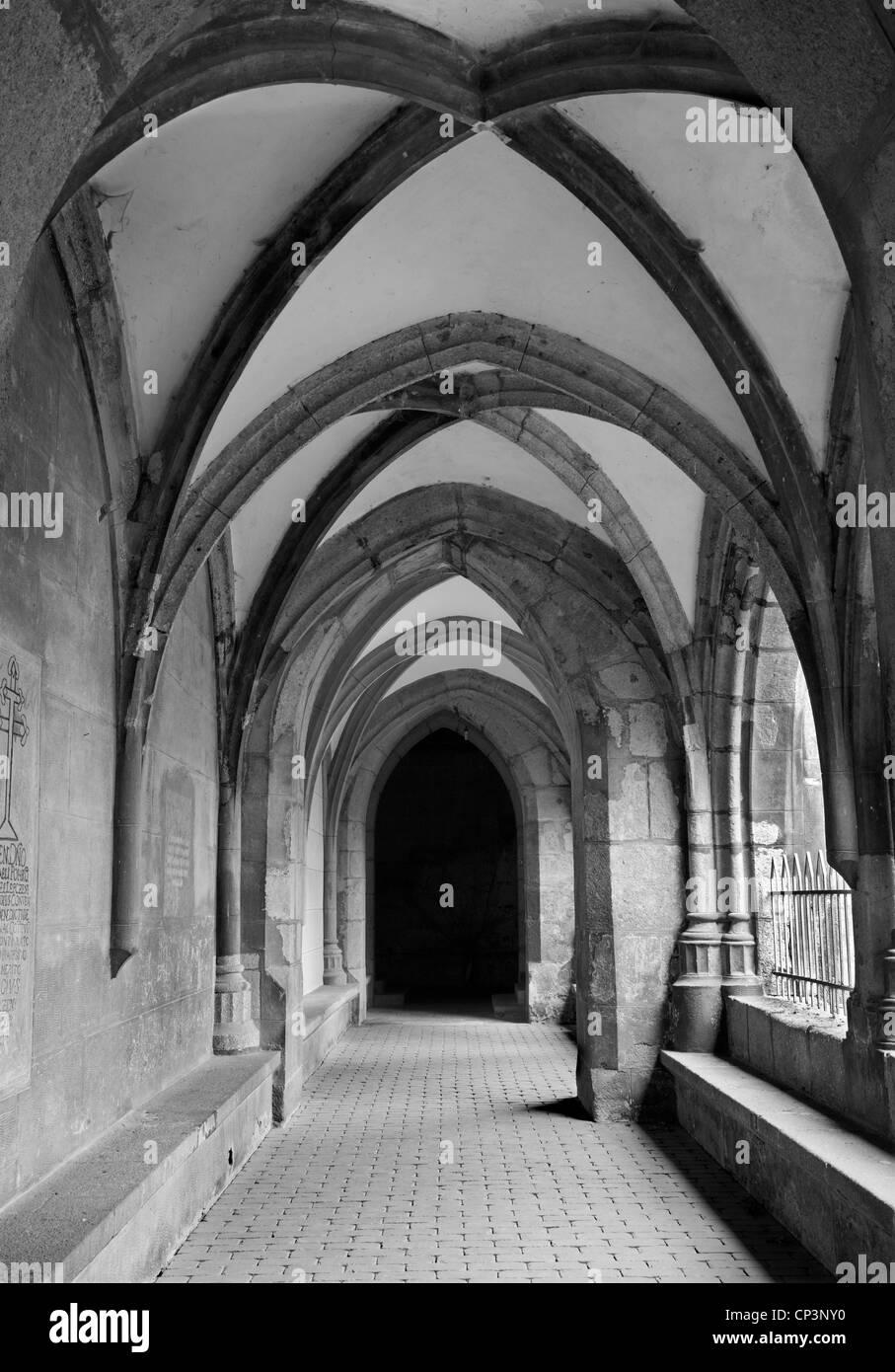 Slovakia - Hronsky Benadik - gothic corridor of atrium - old benedictine cloister - Stock Image