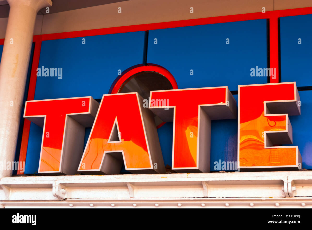 The Tate gallery sign at Liverpool docks, England, UK - Stock Image