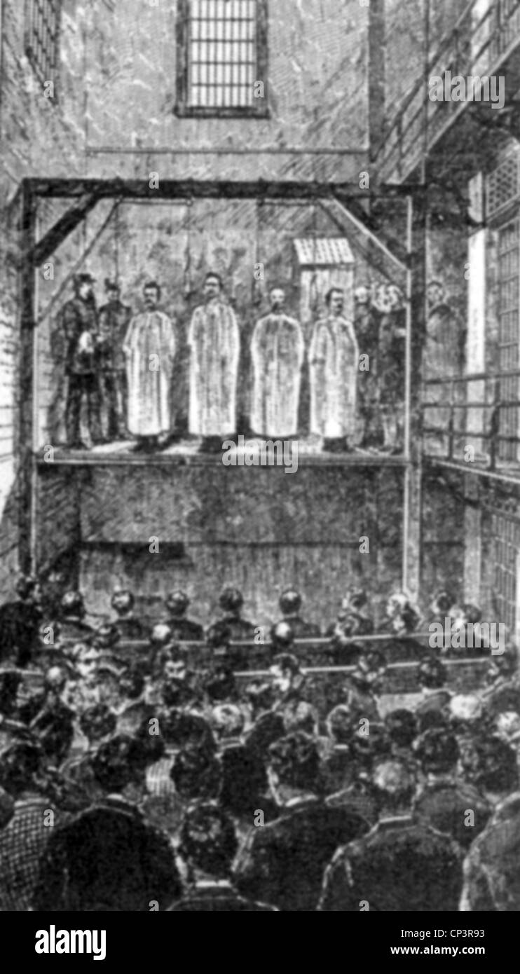 events, Haymarket Riot, May 1886, execution of the anarchists August Spies, Albert Parsons, Adolph Fischer und George - Stock Image