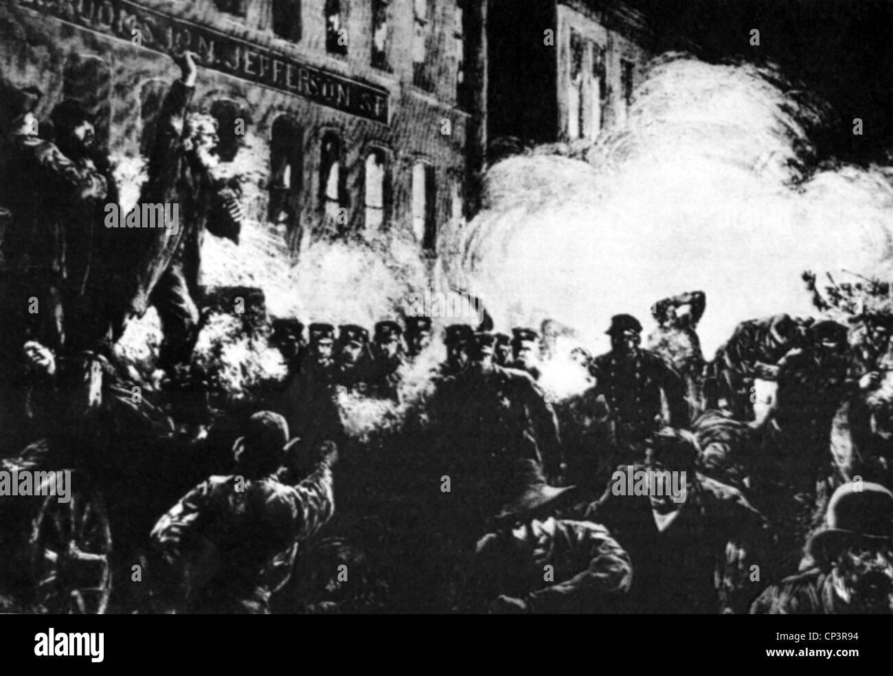 events, Haymarket Riot, May 1886, policemen beat demonstrators with sticks, strike, strikes, riot, riots, tumult, - Stock Image