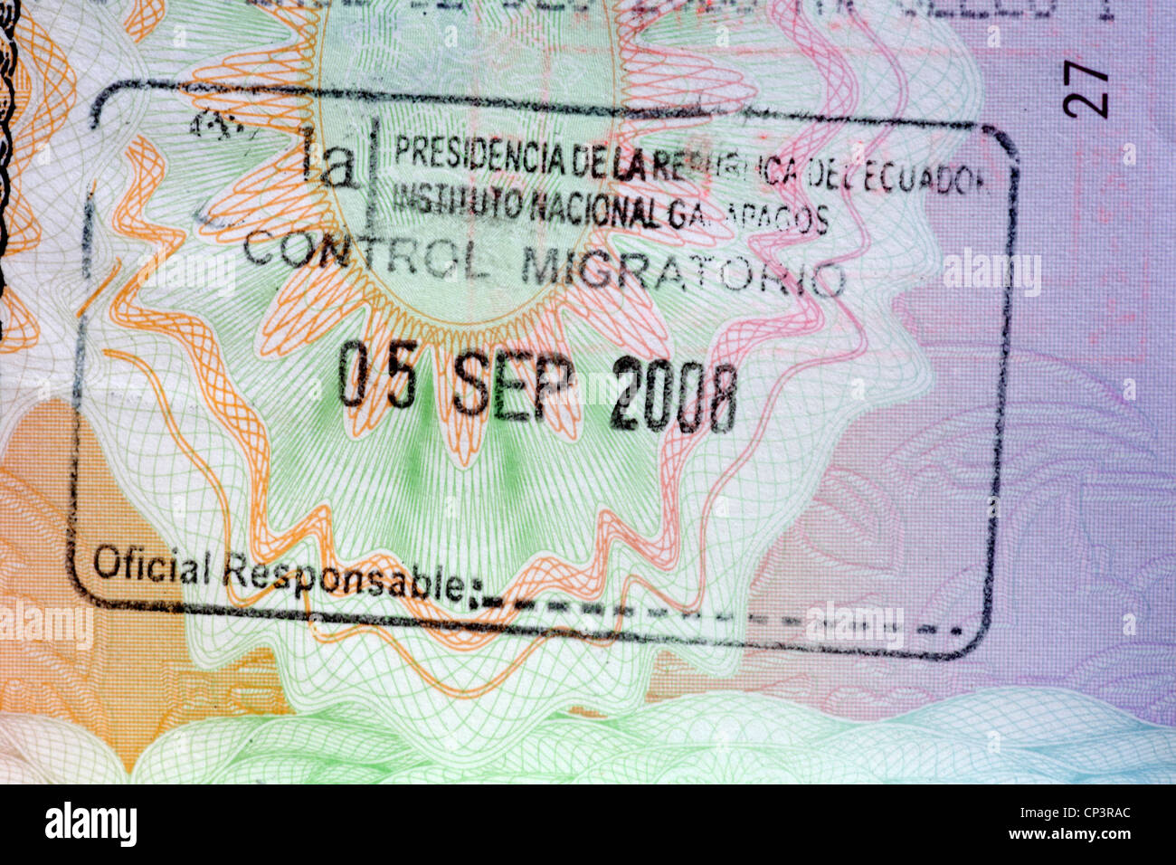 stamp in British passport for Galapagos Ecuador Stock Photo