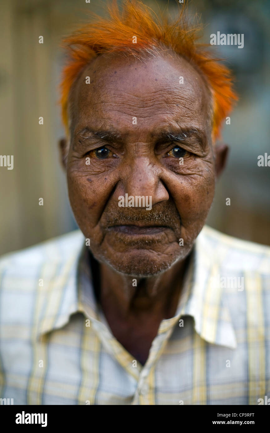 An old man with his hair dyed with henna, Jaipur, India ...