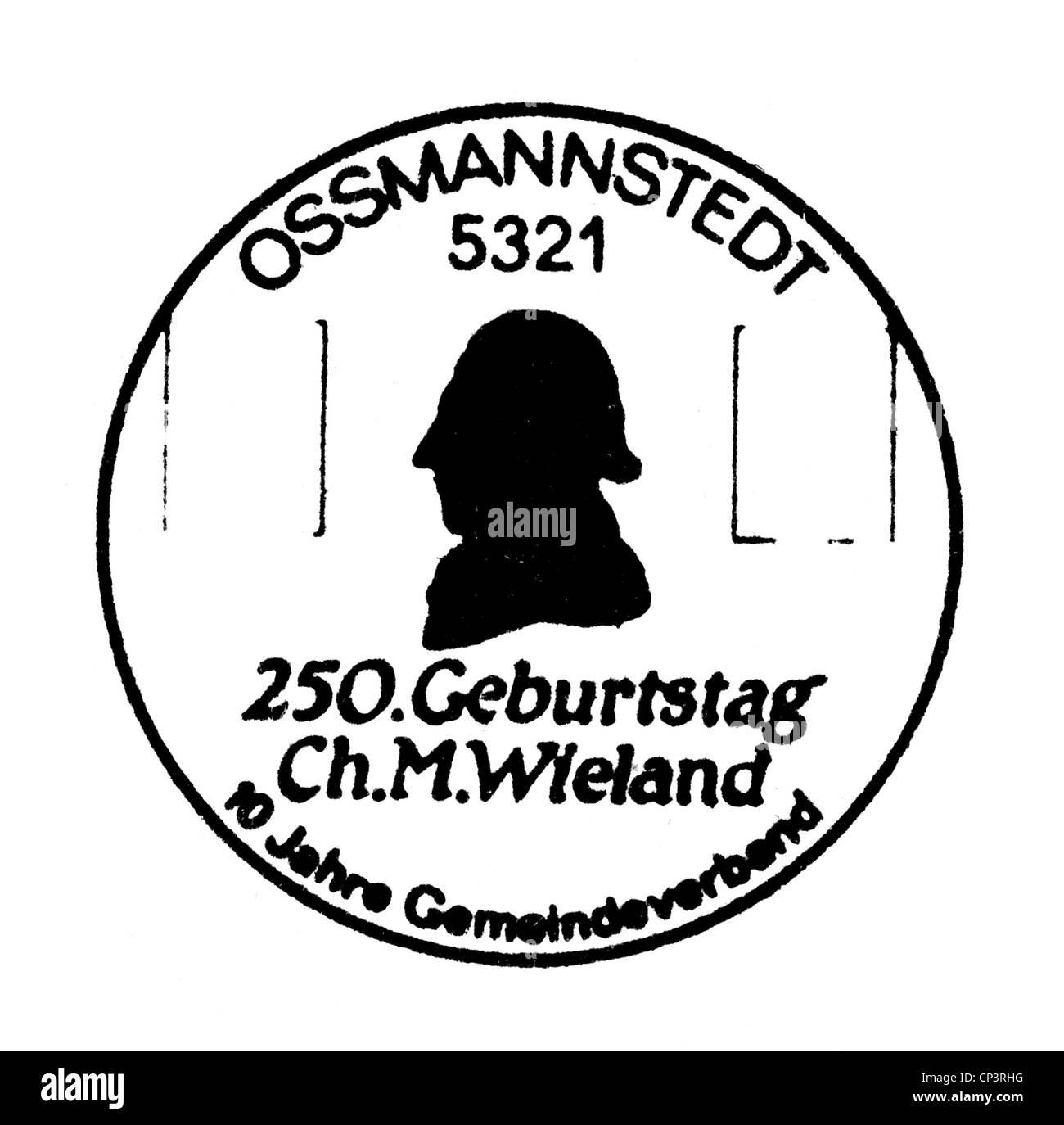 Wieland, Christoph Martin, 5.9.1733 - 20.1.1813, German author / writer, poet, special postmark, used by the post - Stock Image