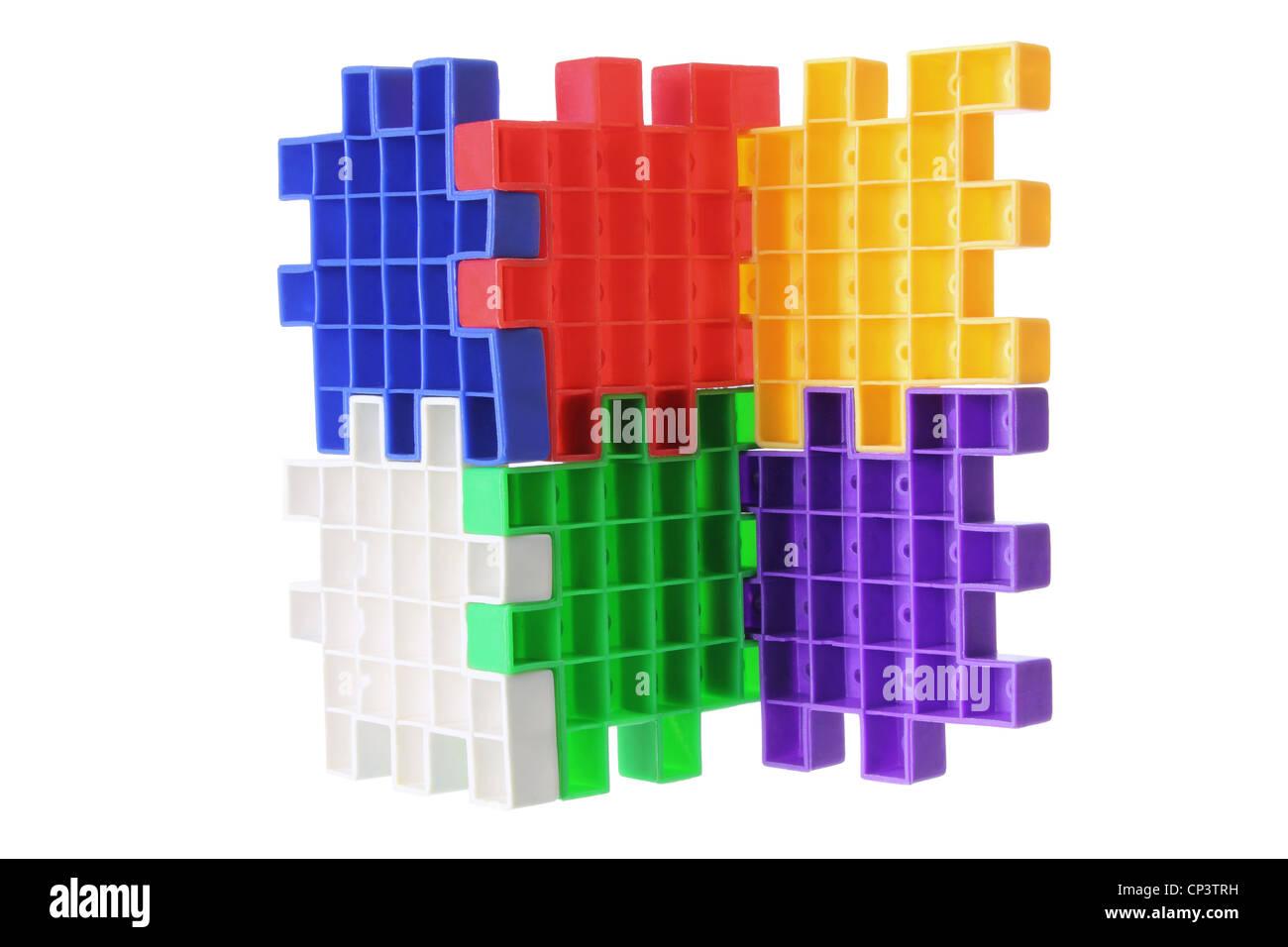 Plastic Puzzle Pieces - Stock Image