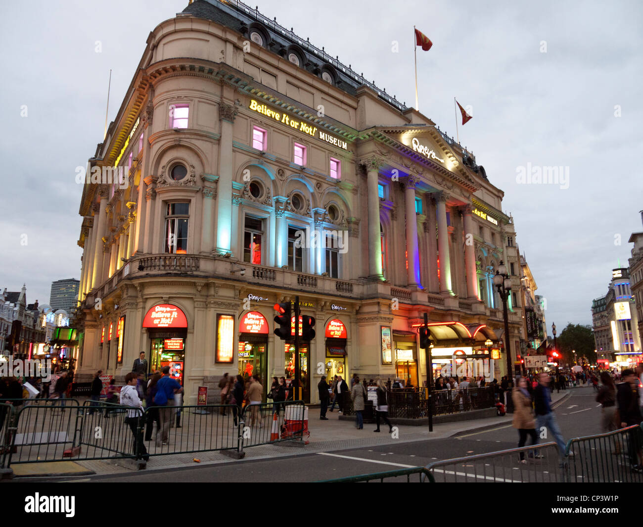 ripleys believe it or not building in piccadilly london at dusk