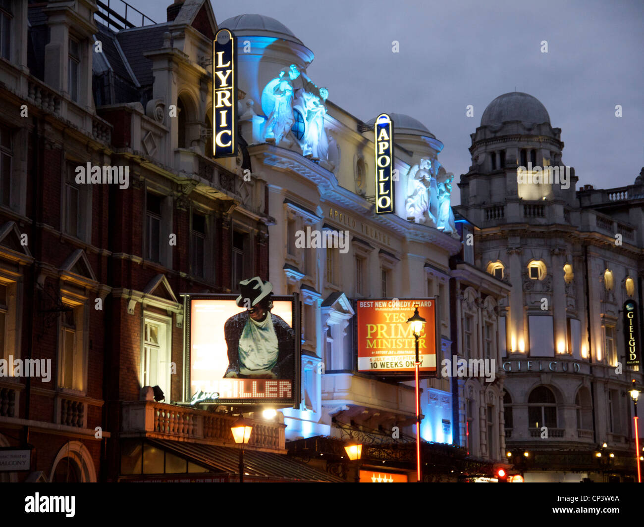 Lyric and Apollo Theatre London in Shaftesbury Avenue at dusk - Stock Image