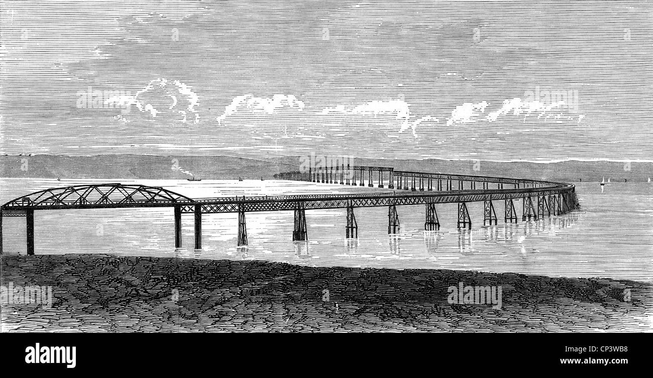 architecture, bridges, Great Britain, Tay Rail Bridge, Firth-of-Tay, Dundee, Scottland, built 1871 - 1878 after - Stock Image