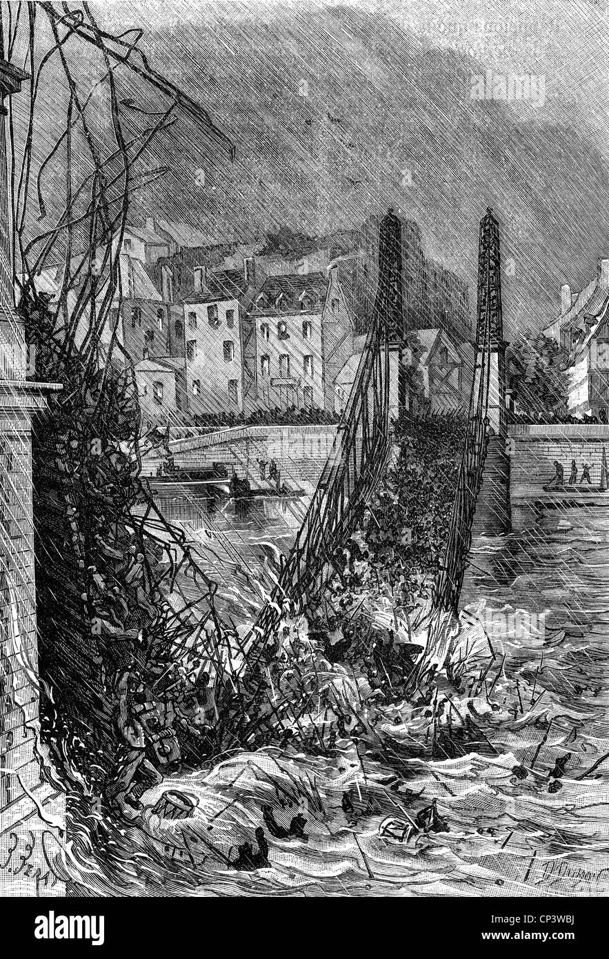 disasters, structural failures, Angers Bridge collapse, France, 16.4.1850, Additional-Rights-Clearences-NA - Stock Image
