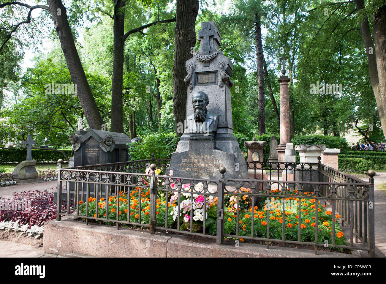 In the Alexander Nevsky Monastery buried Fyodor Mikhailovich Dostoevsky . St . Petersburg . Russia - Stock Image