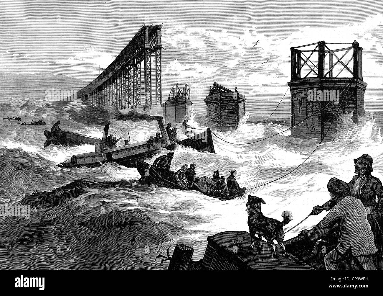 disasters, structural failures, Tay Rail Bridge disaster, Firth-of-Tay, Dundee, Scottland, 28.12.1879, wood engraving, - Stock Image