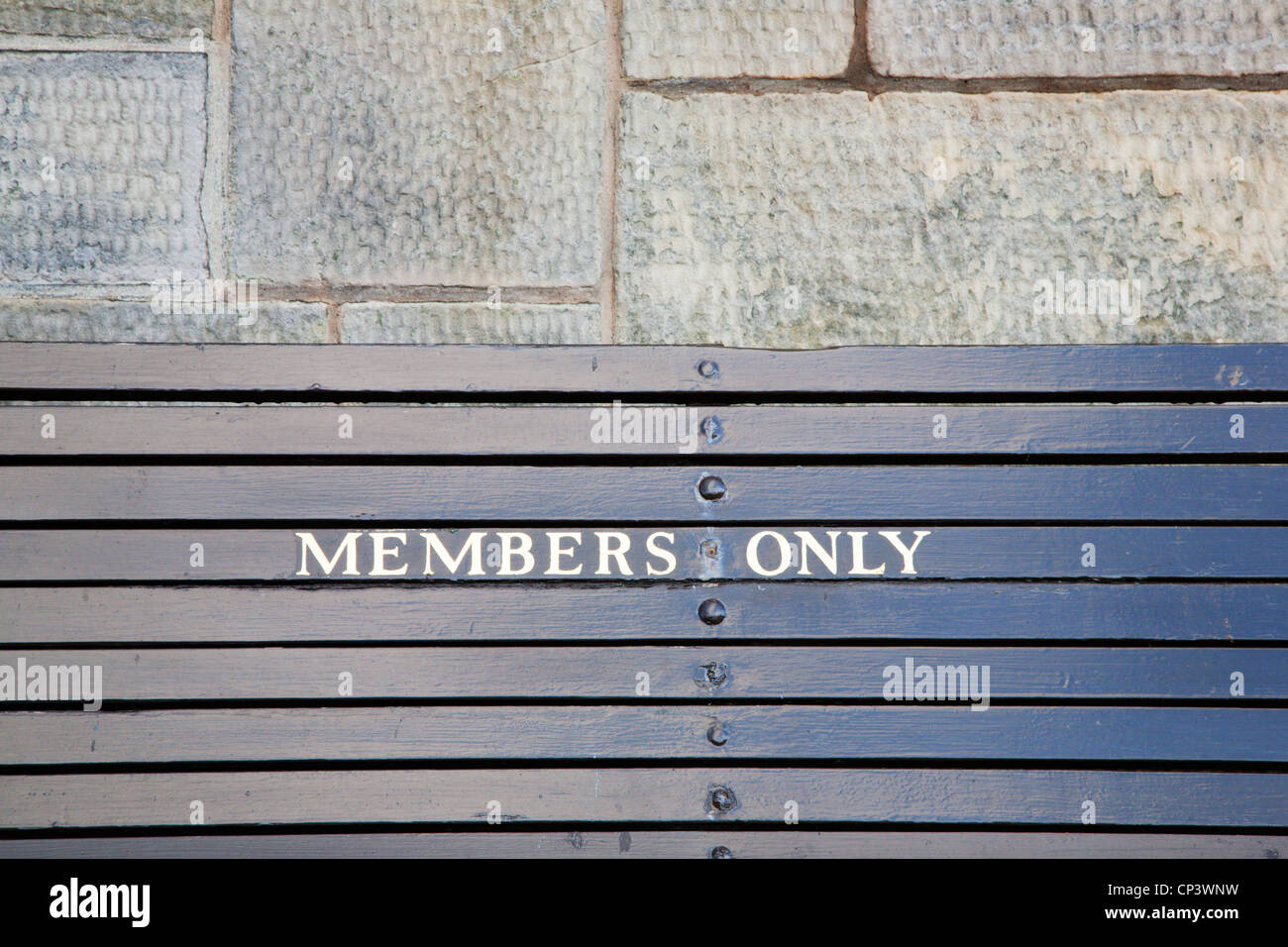 Members Only Bench Royal and Ancient Golf Club St Andrews Fife Scotland - Stock Image