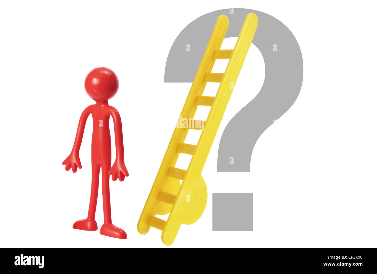 Miniature Rubber Figure with Ladder and Question Mark - Stock Image
