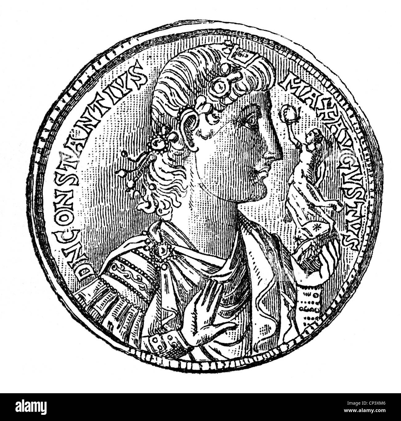 Constantine II (Flavius Claudius Constantinus), 317 - 340, Roman Emperor 337 - 340, portrait, coin, circa 338, wood - Stock Image