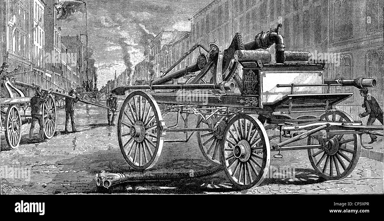 fire, fire service, new American fire hose, wood engraving, Germany, 1884, Additional-Rights-Clearences-NA - Stock Image