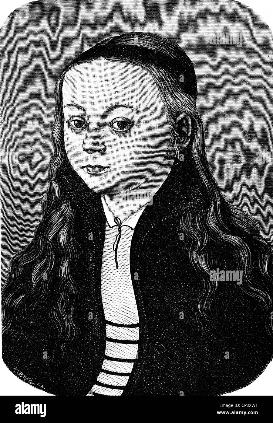 Luther, Martin, 10.11.1483 - 18.2.1546, German reformer, family, possible portrait of his daughter Magdalena (4.5.1529 - Stock Image