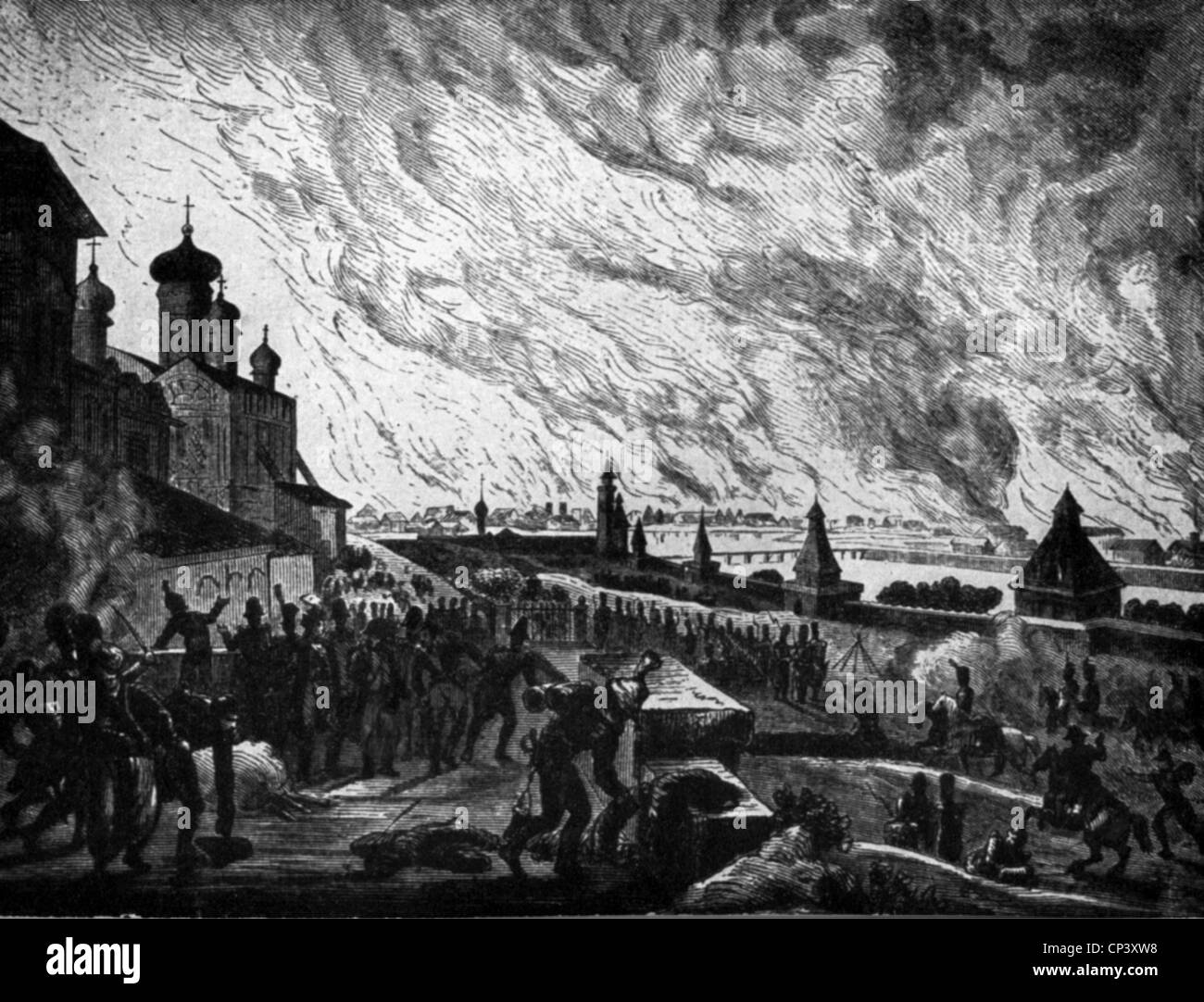 events, War of the Sixth Coalition 1812 - 1814, Russian campaign, fire of Moscow, 16.- 20.9.1812, contemporary engraving, - Stock Image