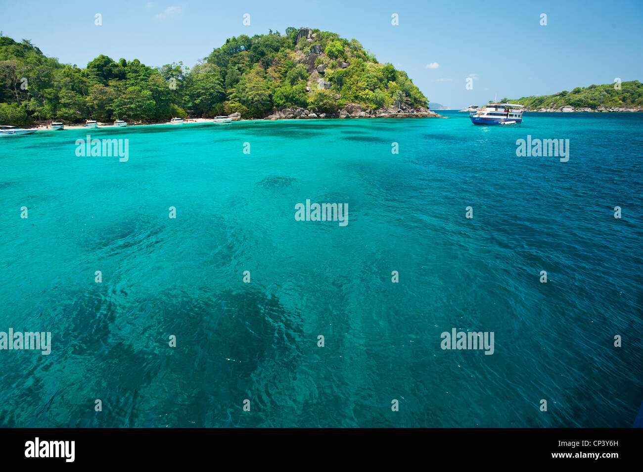 space for text layout island water sea blue deep blue sun holidays happy holiday beach  fun funny sun water sea - Stock Image