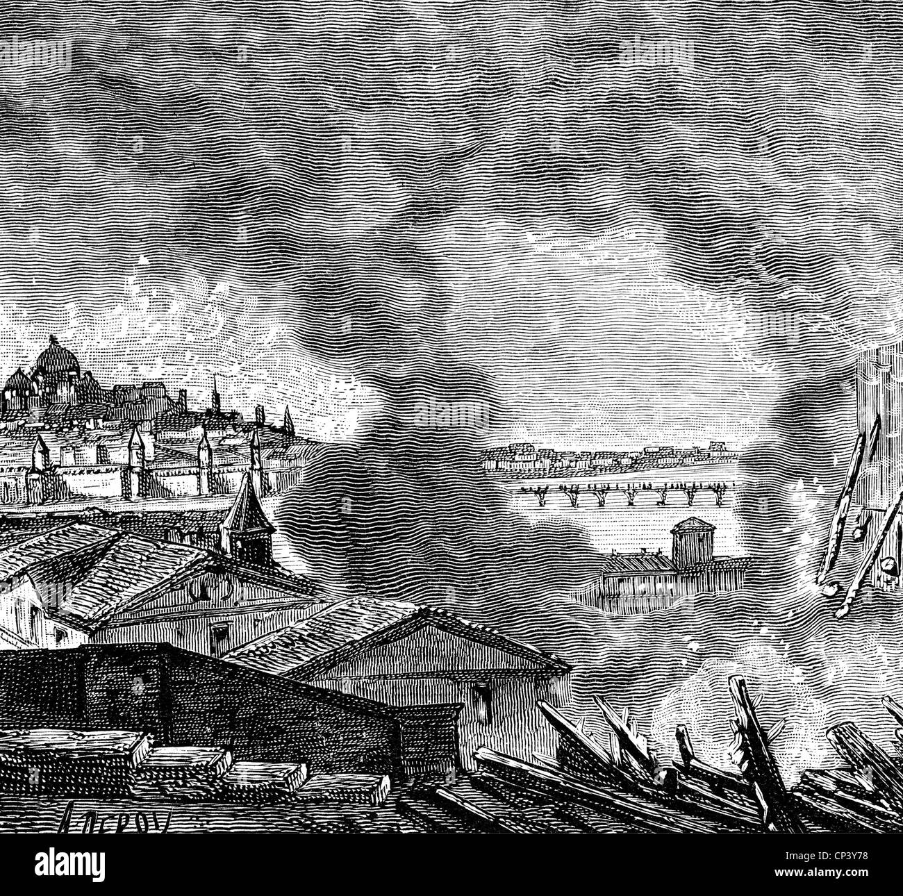 events, War of the Sixth Coalition 1812 - 1814, Russian campaign, fire of Moscow, 16.- 20.9.1812, wood engraving, - Stock Image