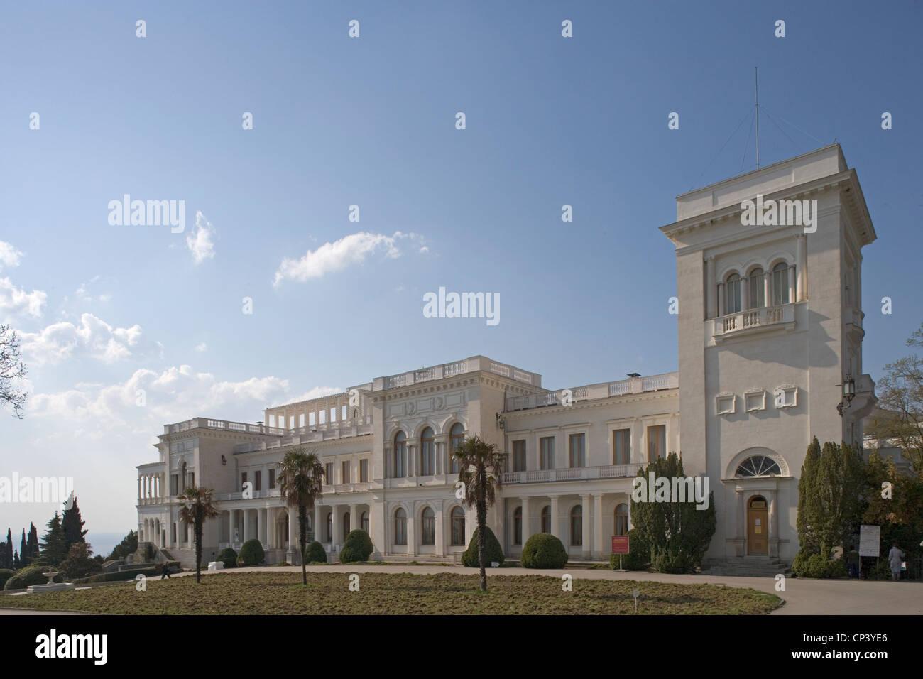 Ukraine Crimea Yalta. Livadia Palace (project Nikolay Krasnov, 1909-1911). Born as summer residence of Tsar Nicholas - Stock Image