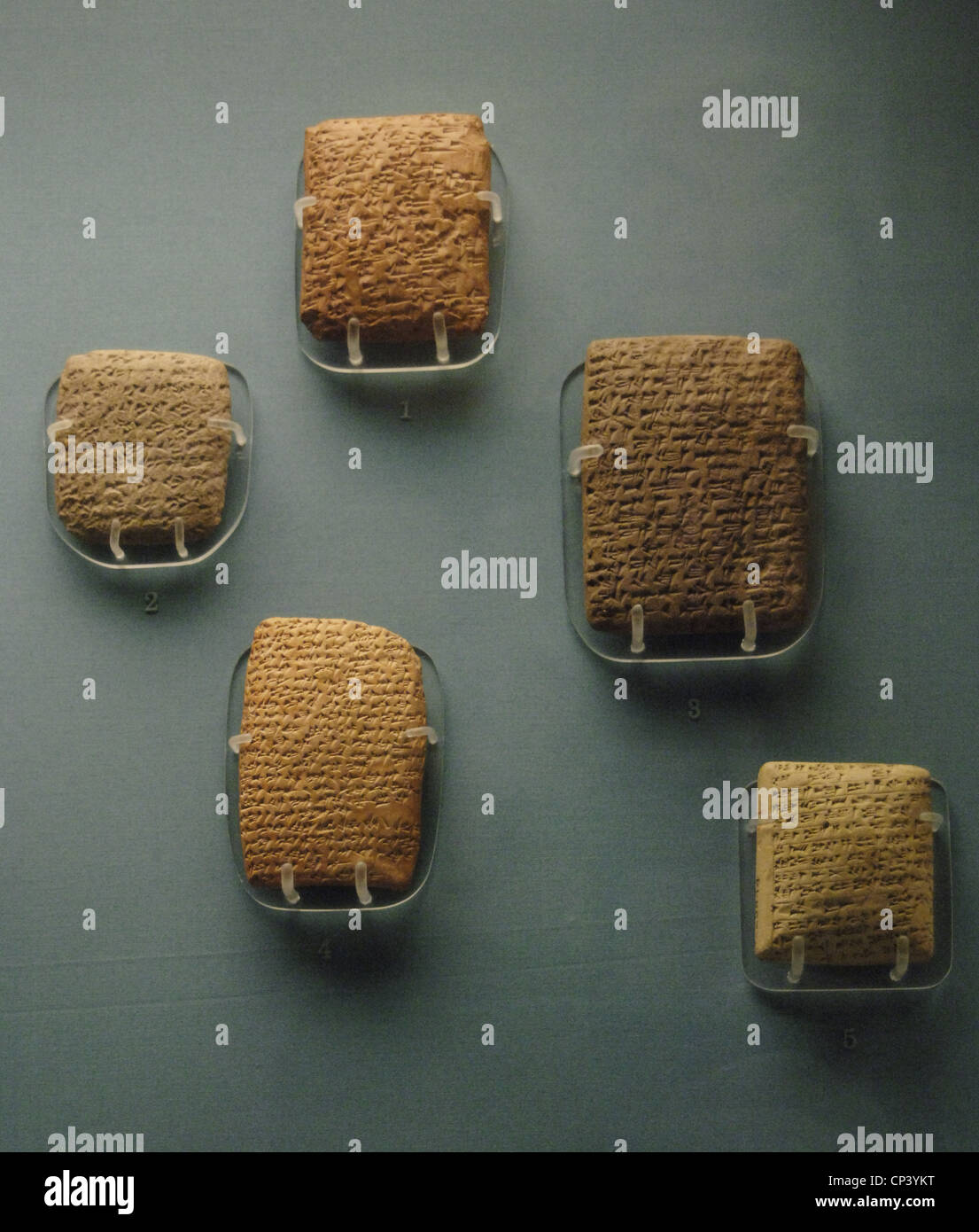 Amarna Letters. 14th century BC. Clay tablets with cuneiform script, mostly written in Akkadian. From Amarna (Upper - Stock Image