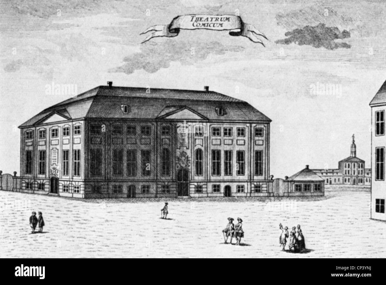 geography/travel, Denmark, Copenhagen, Royal Theatre, built 1748, architect: Nicolai Eigtved, exterior view, copper - Stock Image