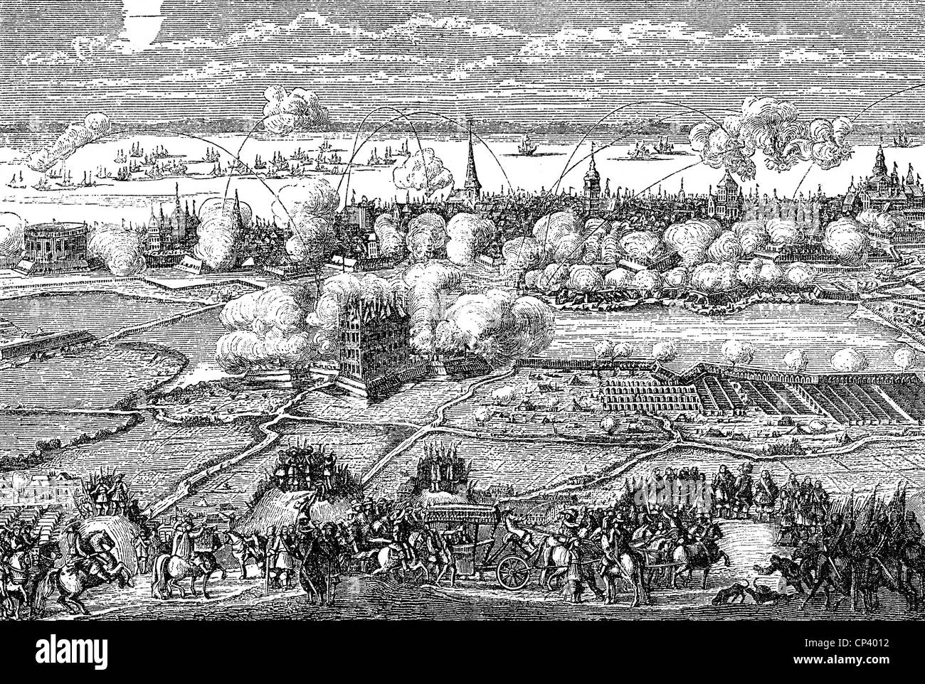 events, Second Northern War 1655 - 1661, Siege of Copenhagen 1658 - 1659, copper engraving, 2nd half 17th century, - Stock Image