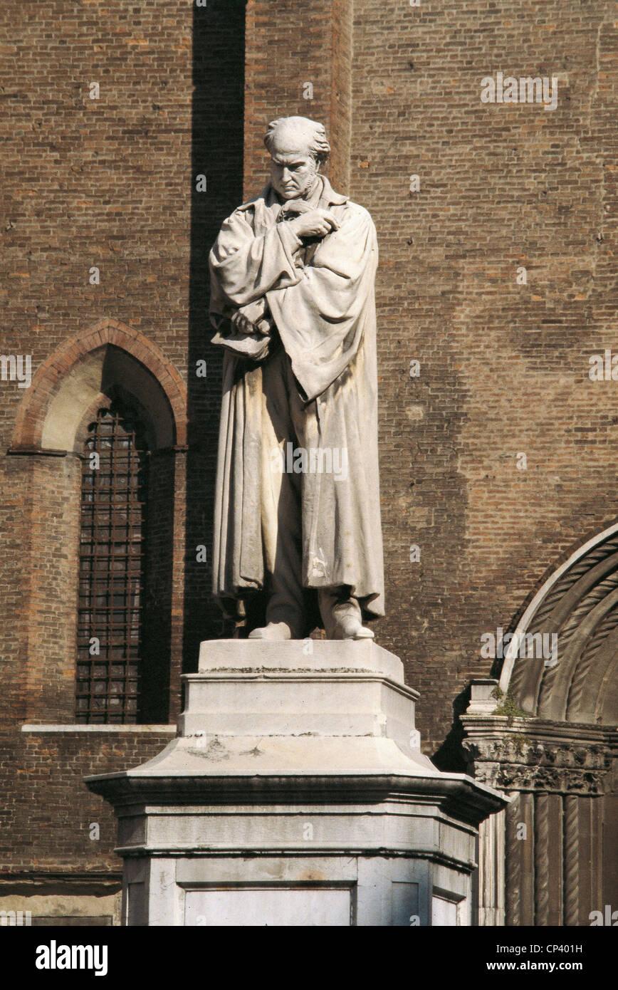 Emilia Romagna - Piacenza. Christopher Marzaroli (1836-1871). Monument to Gian Domenico Romagnosi, 1871. - Stock Image