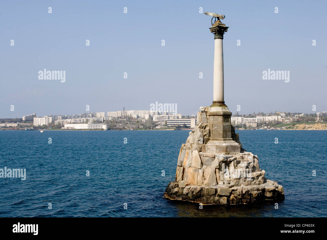 Ukraine - Crimea - Sevastopol. Memorials to the sunken ships in the siege of the city (1854-55) during the Crimean - Stock Image