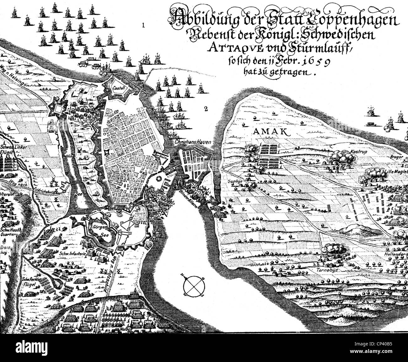 events, Second Northern War 1655 - 1661, Siege of Copenhagen 1658 - 1659, attack of the Swedes 11.2.1659, map, contemporary - Stock Image